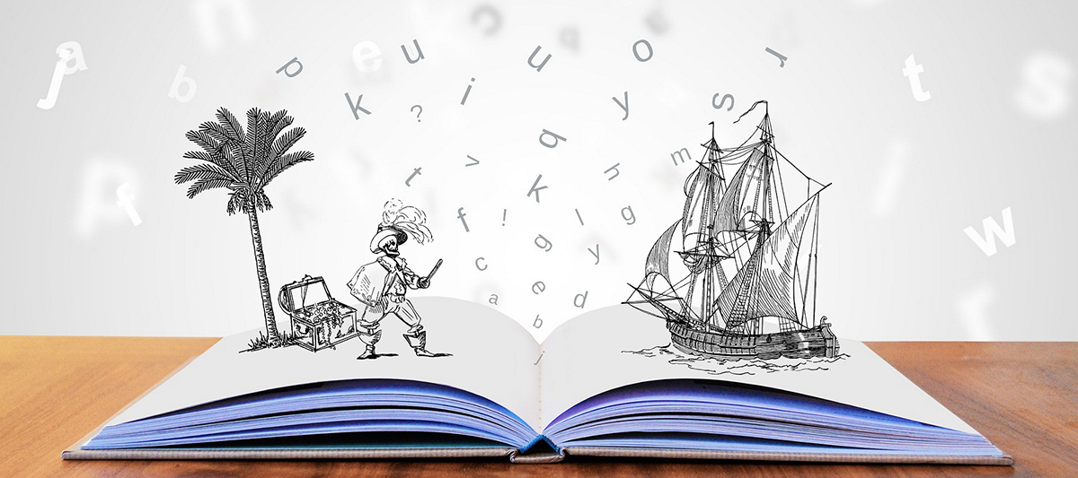 Storytime graphic showing an open book with illustrations of a pirate and ship popping out